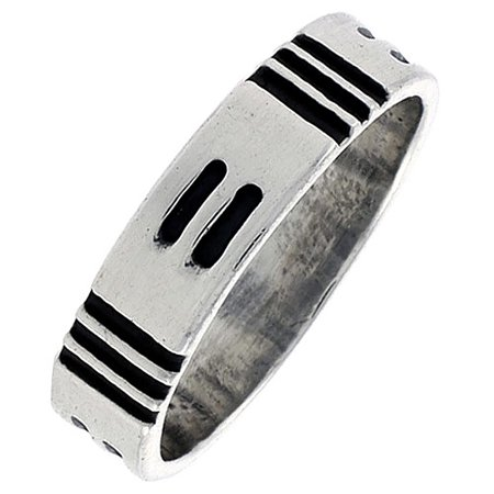 Sterling Silver Native American Design - Sterling Silver Native American Hopi Pattern Ring Southwestern Design Handmade 1/4 inch wide