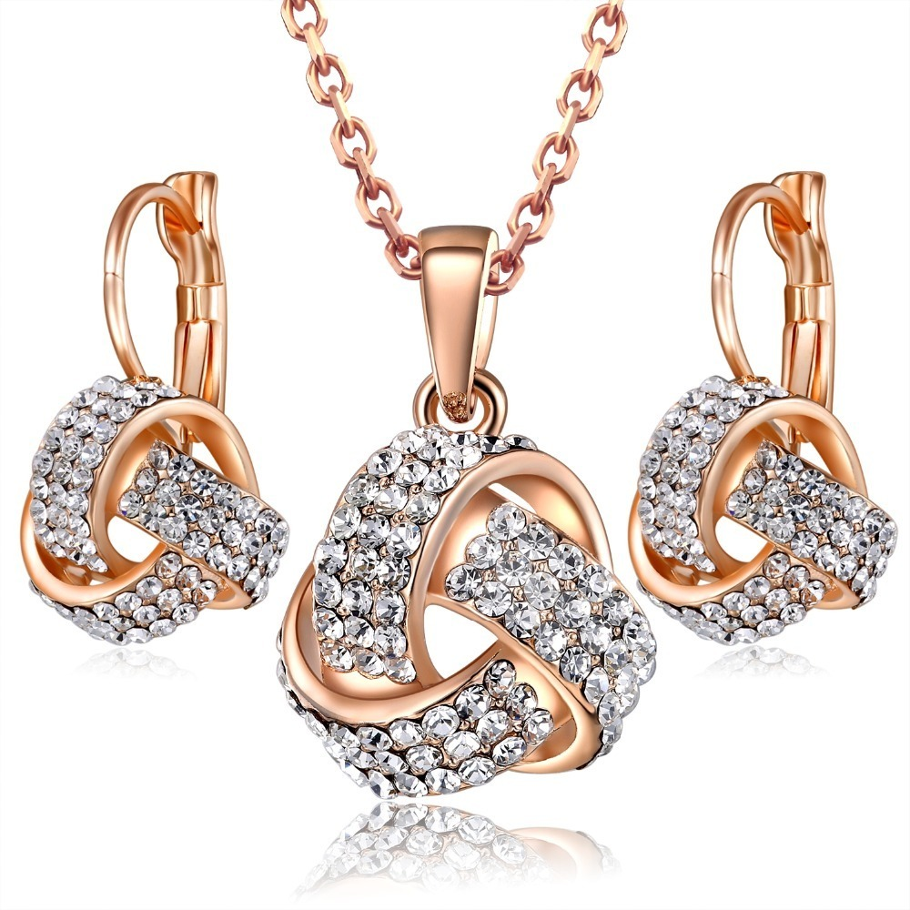 Womens 18K Rose Gold Plated Gorgeous Austrian Crystal Necklace and Earrings Sets