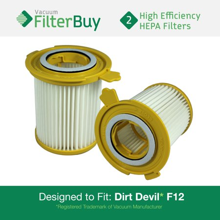 Dirt Devil F12 Filter - 2 - Dirt Devil F-12 (F12) HEPA Replacement Filters, Part # 3KD1680000 (3-KD1680-000).  Designed by FilterBuy to fit Dirt Devil Vision Canister Vacuum Cleaners