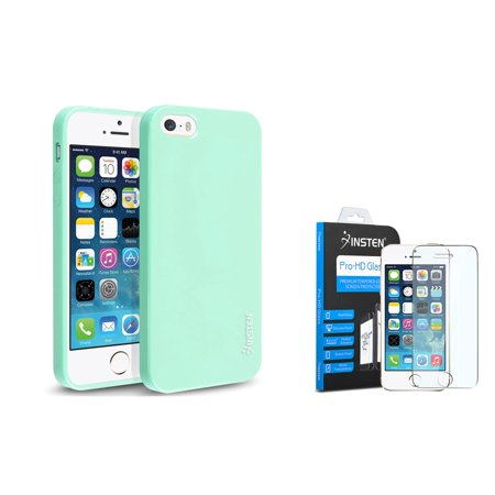 iPhone SE / 5 / 5s Mint Green Jelly TPU Rubber Skin Case by Insten (with Shatter-Proof Tempered Glass Screen Protector)