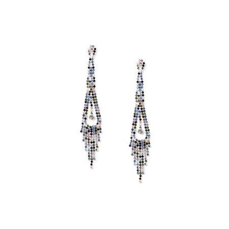 Silver Multiple Color Rhinestone Long Multi Strands with Teardrop Center Design Dangle Earrings