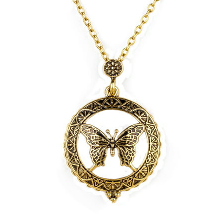 cd4ba27e1c817 Butterfly Hollow out Locket Vintage Magnifying Glass Necklace Anti-Tarnish  Pendant Antique Gold Jewelry, J-436