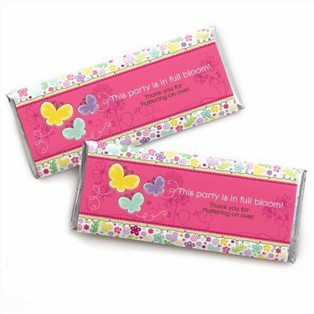 Playful Butterfly and Flowers - Candy Bar Wrappers Party Favors - Set of 24