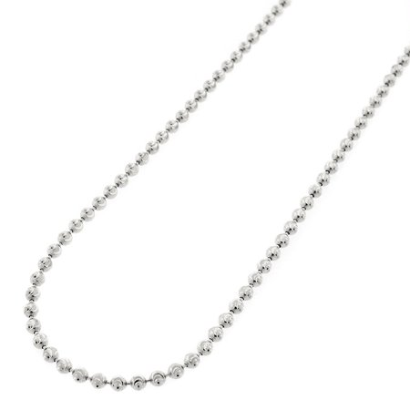 "Sterling Silver Italian 2mm Ball Bead Moon Cut Solid 925 Rhodium Necklace Chain 16"" - 30"""