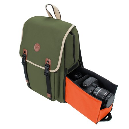 GOgroove Mid volume Multifunction DSLR Camera Backpack (Dk Green) w/Interior Tablet Sleeve , Quick Slide Camera Compartment, Phone Storage and Dual Accessory