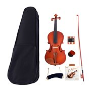 Acoustic Violin Outfit Set, Solid Violin Fiddle Starter Kit with Case, Bow, Rosin, Strings, Shoulder Rest, Musical Instruments for Kids/Adult, Violin for Beginners, 1/8 1/4 1/2 3/4 4/4,W2697