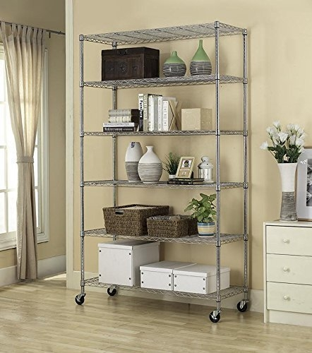 """82""""x48""""x18"""" Commercial 6 Tier Adjustable Wire Shelving Me..."""