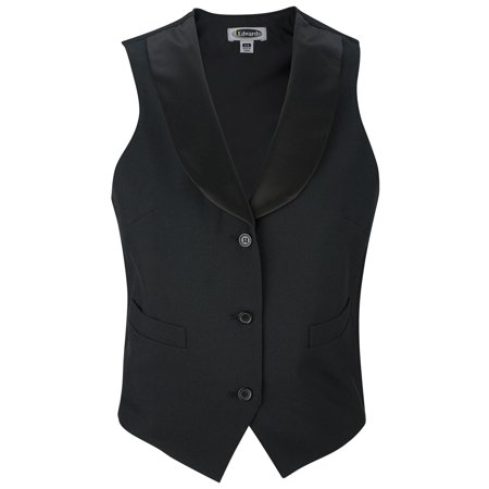 Ed Garments Women's Fully Lined Black Satin Shawl Vest, BLACK, Small