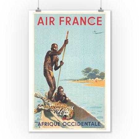 Air France - Afrique Occidentale Vintage Poster (artist: Brenet) France c. 1949 (9x12 Art Print, Wall Decor Travel Poster)