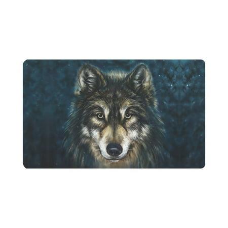 - MKHERT Wolf Head Animal Painting Doormat Rug Home Decor Floor Mat Bath Mat 30x18 inch