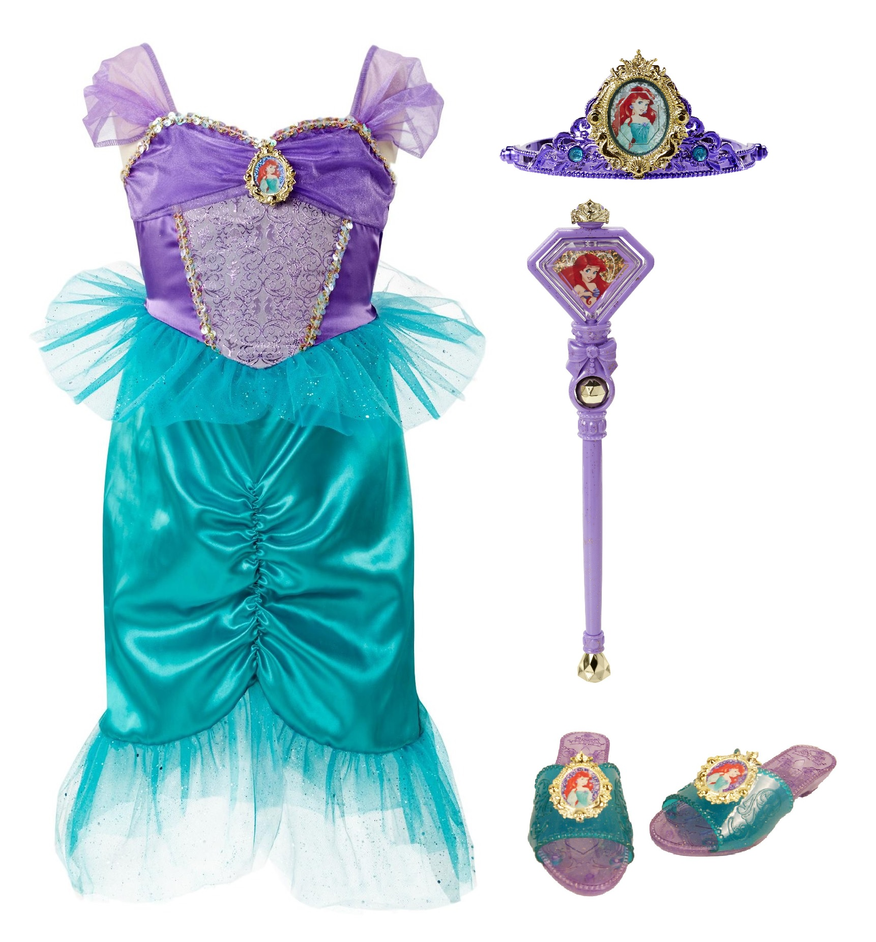 Disney Princess Little Mermaid Ariel Dress Up Costume Set (Size 4-6X)