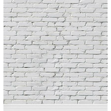 Greendecor Polyester Fabric 5x7ft White Brick Wall Newborn Pet Photography Backdrop Prop Photo Background