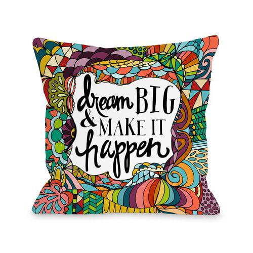 Zoomie Kids Ricky Dream Big, Make It Happen Throw Pillow