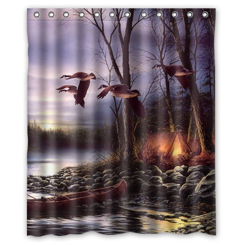HelloDecor Mallard Ducks Fly In Sky Shower Curtain Polyester Fabric Bathroom Decorative Size 60x72 Inches