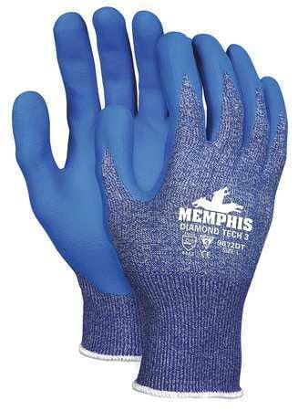 MCR SAFETY Cut Resistant Glove,A3,S,Blue,PR 9672DTS
