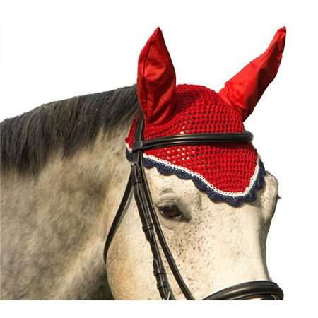 Intrepid International 137823 Horse Size All Crochet Fly Veil with Ears, Scalloped Grey & Silver - image 1 de 1