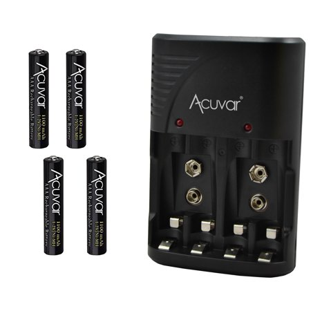 4 Acuvar AAA Rechargeable Batteries + Acuvar 3 in 1 Battery Charger for Double AA, Triple AAA and 9V (Best Aa Aaa Battery Charger)