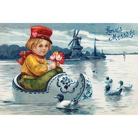 A vintage postcard featuring a little Dutch boy floating in a wood clog on a lake with ducks in front of a windmill and a sailboat  This Dutch themed valentine was intended to deliver loves message Po - Front Court Clog