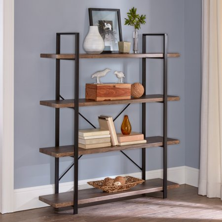 "Mainstays Tahoe 55"" x 47"" 4-Tier Black Metal and Distressed Wood Storage Shelf Bookcase"