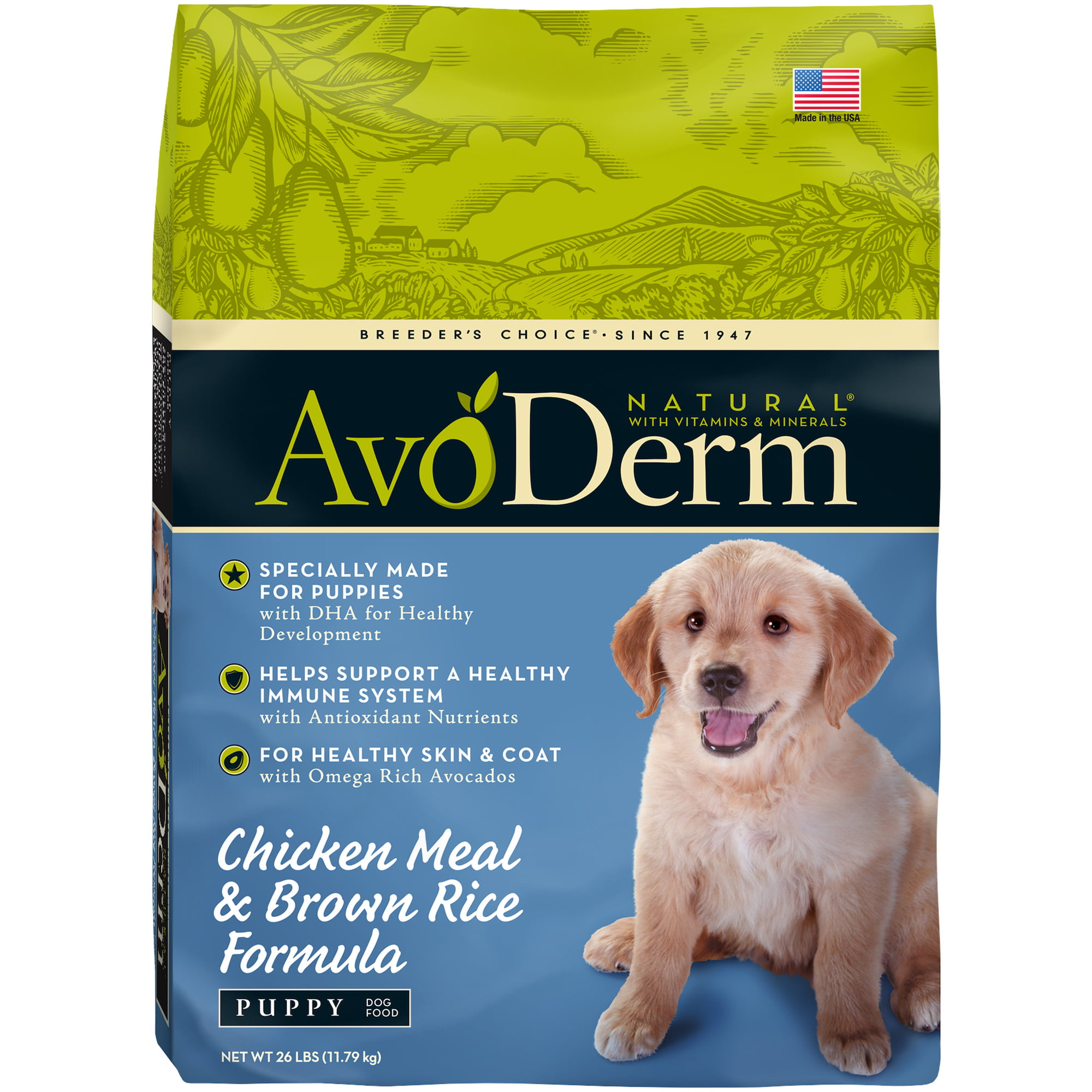 AvoDerm Puppy Food, Natural Chicken Meal and Brown Rice Formula, 26-Pound by Breeder's Choice