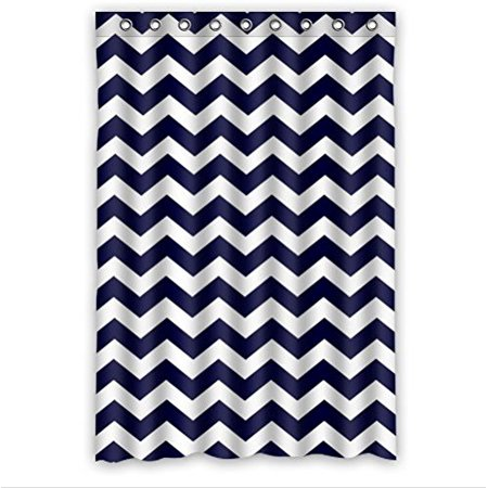 GreenDecor Chevron Royal Blue White Waterproof Shower Curtain Set with Hooks Bathroom Accessories Size 48x72 inches