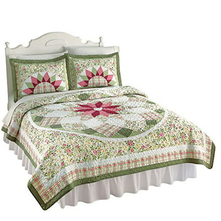 Collections Etc Darcy Star Floral Patchwork Quilt, Twin, Sage ... : patchwork quilt twin - Adamdwight.com