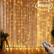 9.8Ft X 9.8Ft 300LED Soft Curtain Lights Novelty Lighting Fairy Starry Christmas String Lamp Icicle Light Indoor Outdoor Decor For Garden Party Wedding Starry Christmas Xmas Deco