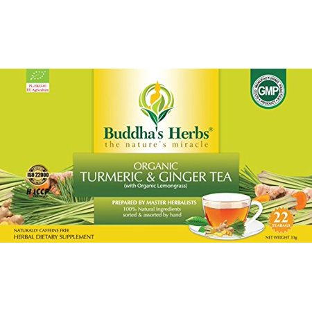 Buddha's Herbs Organic Turmeric, Ginger and Lemongrass Tea, 22 Tea Bags (Pack of 2) (Tea Lemon Ginger Tea)