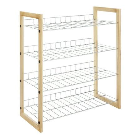 Natural Wood and Chrome 4 Tier Closet Storage Shelves