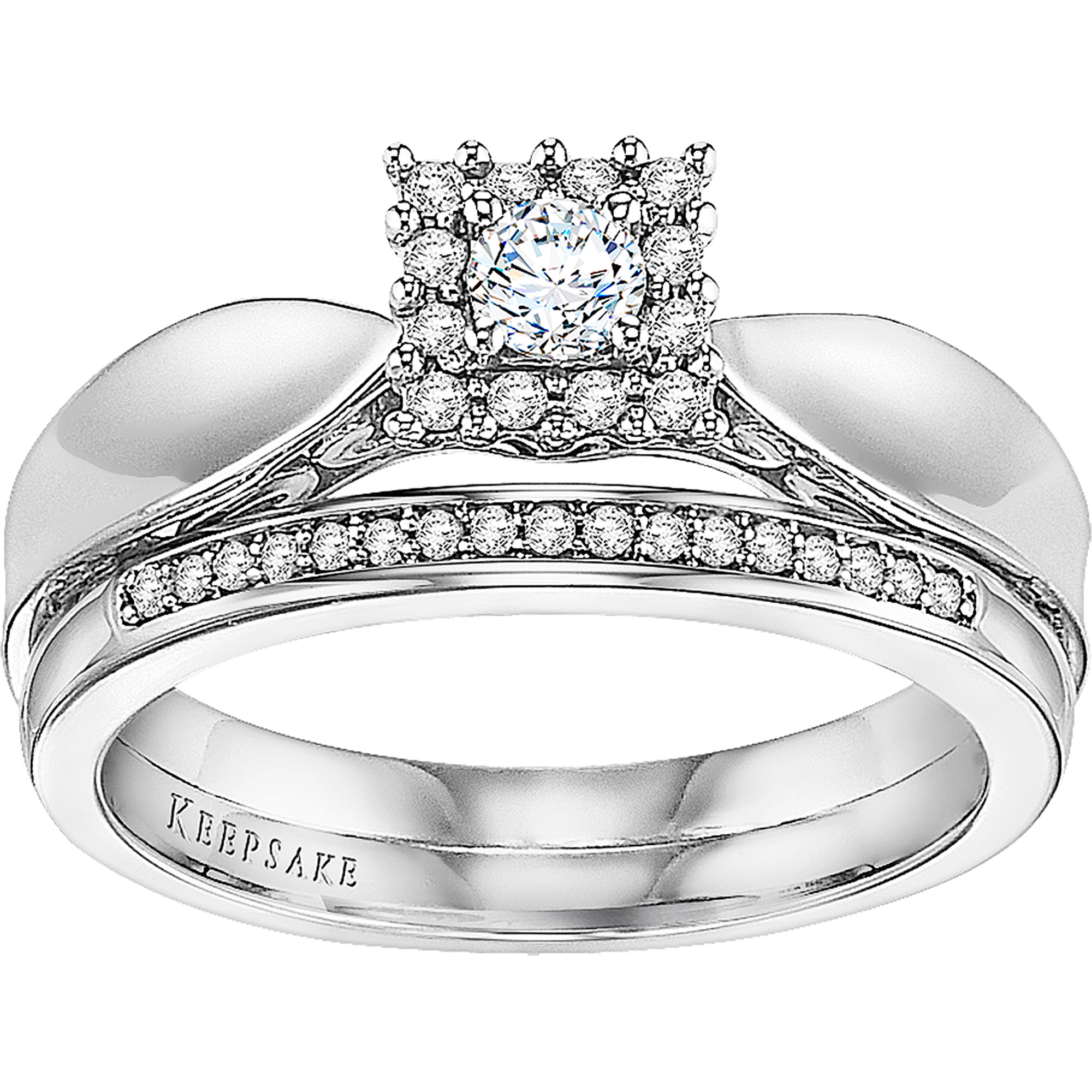 Forever Bride 1/4 CT. T.W. Diamond Princess Bridal Set in Sterling Silver