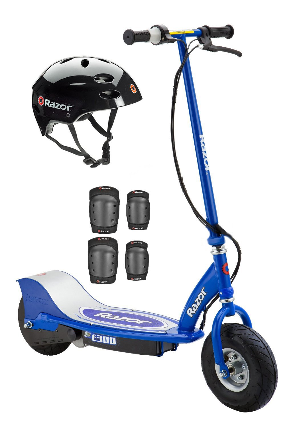 Razor E300 Electric Motorized Scooter (Blue) with Helmet, Elbow & Knee Pads by