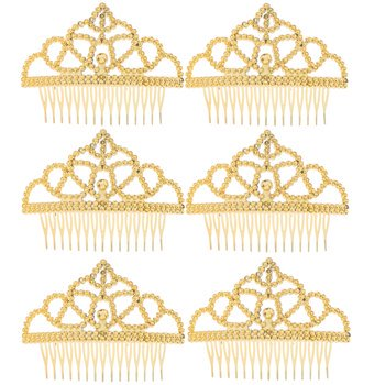 Gold Princess Birthday Plastic Tiara Comb Party Favors Party Supplies 6 - Princess Tiara Favors
