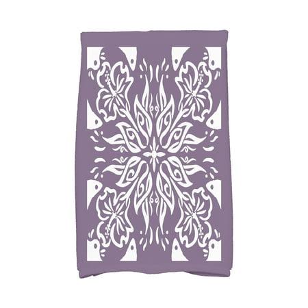 Simply Daisy, 16 x 25 Inch, Cuban Tile 3, Geometric Print Kitchen Towel, Purple