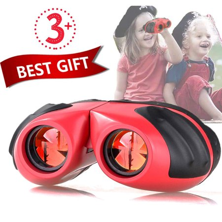Reactionnx Binoculars for Kids - Best Toy Gift for 3-10 Year Old Boys Girls, Compact Shockproof Small Outdoor Spotting Telescope for Bird Watching, Camping and