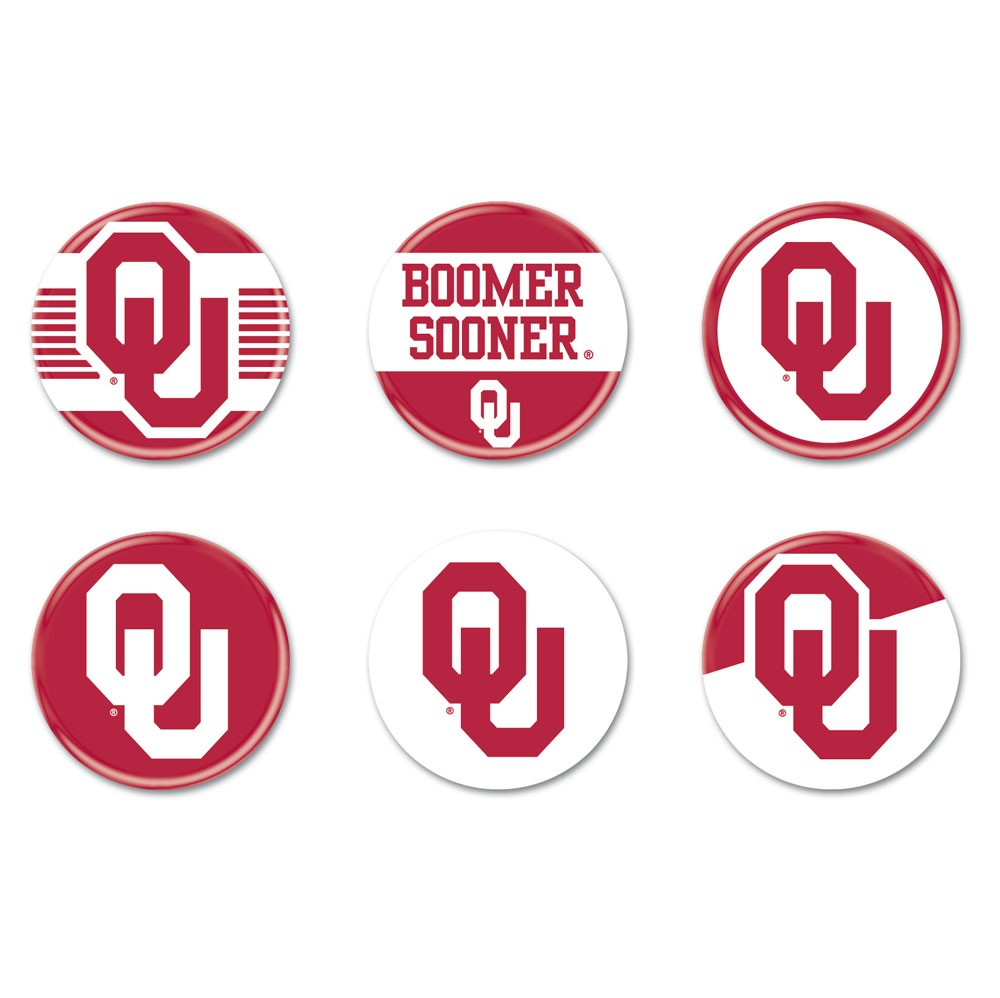 Oklahoma Sooners Official NCAA 2 inch  Button Set 6-Pack by Wincraft