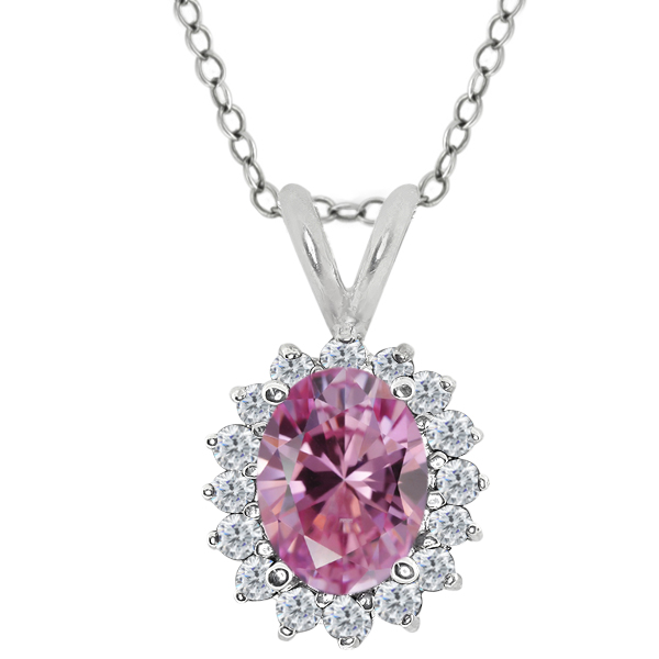 1.45 Ct Pink 925 Sterling Silver Pendant Made With Swarovski Zirconia