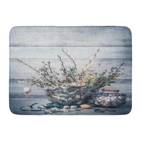 GODPOK Easter Holiday with Springtime Bunch of Spring Branches with Cherry Blossom Basket with Eggs Ribbon Rug Doormat Bath Mat 23.6x15.7 inch