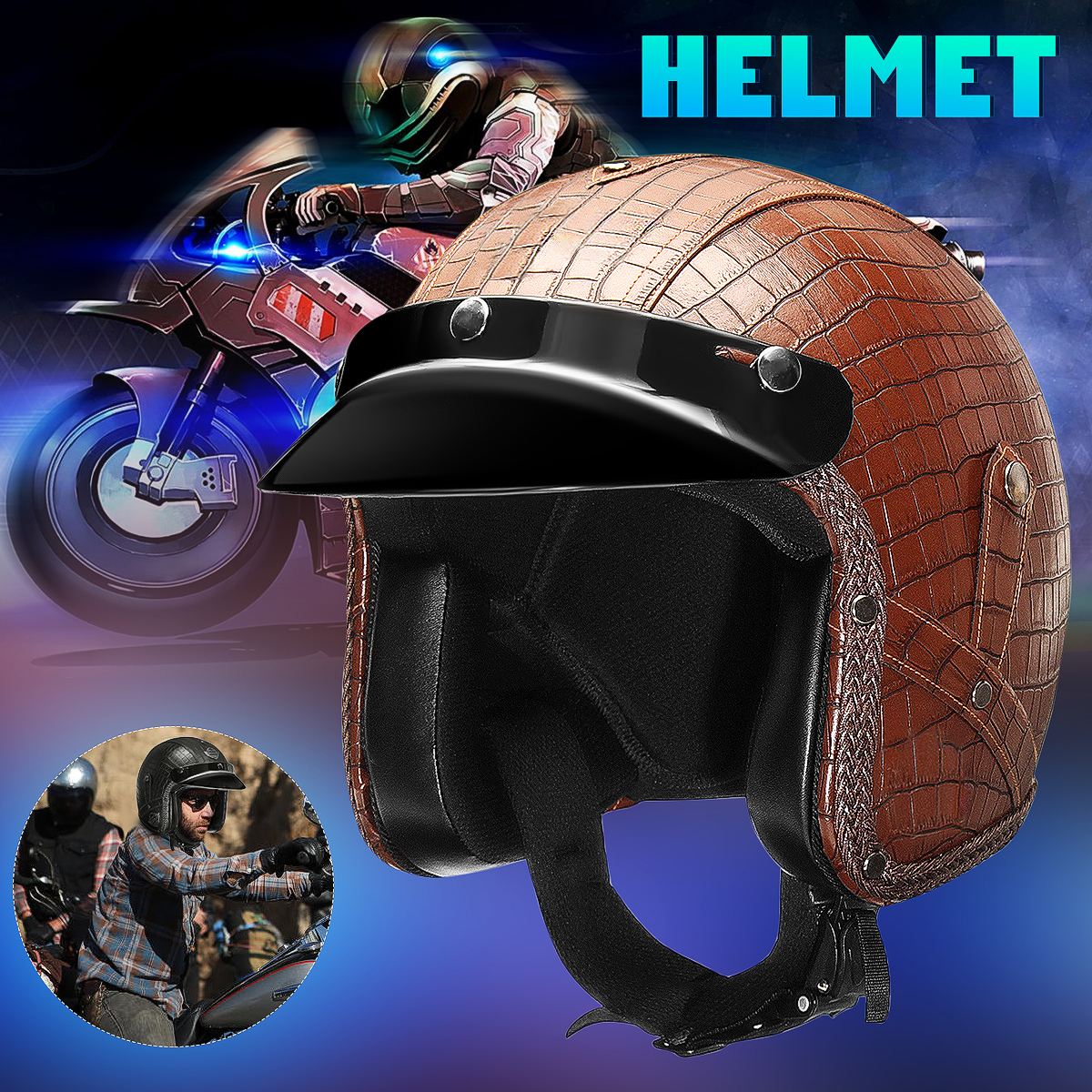 Motorcycle 3/4 Open Helmet PU Leather Alligator Pattern M/ L/ XL Classic Visor Two Colors