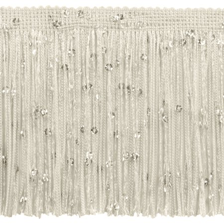 4 Inch Chainette Sequin Fringe Trim, CFS04 Color: Ivory (Off White) - OW, Sold By the