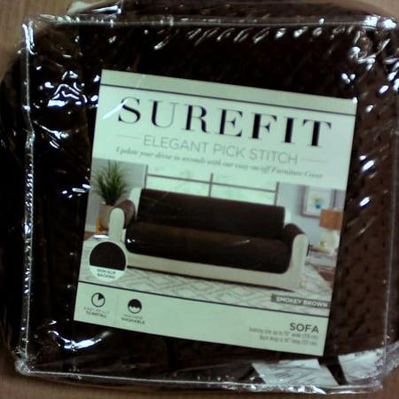 Sure Fit Elegant Pick Stitch Sofa Furniture Cover - Smokey