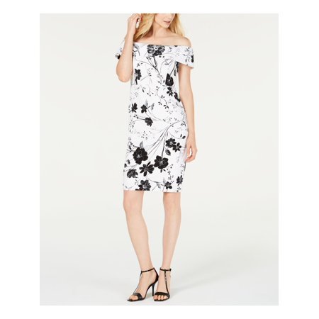 CALVIN KLEIN Womens White Floral Short Sleeve Off Shoulder Knee Length Body Con Wear To Work Dress  Size: 6
