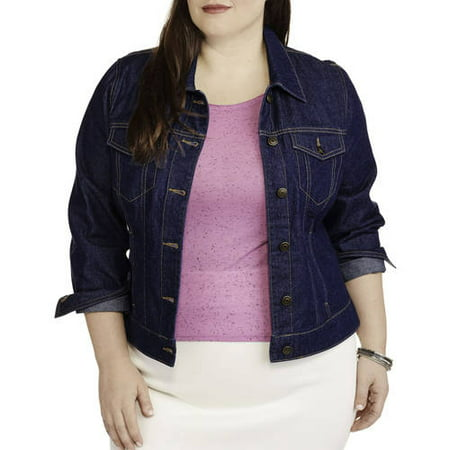 9fe1f36975 Faded Glory - Women s Plus-Size Classic Denim Jacket - Walmart.com