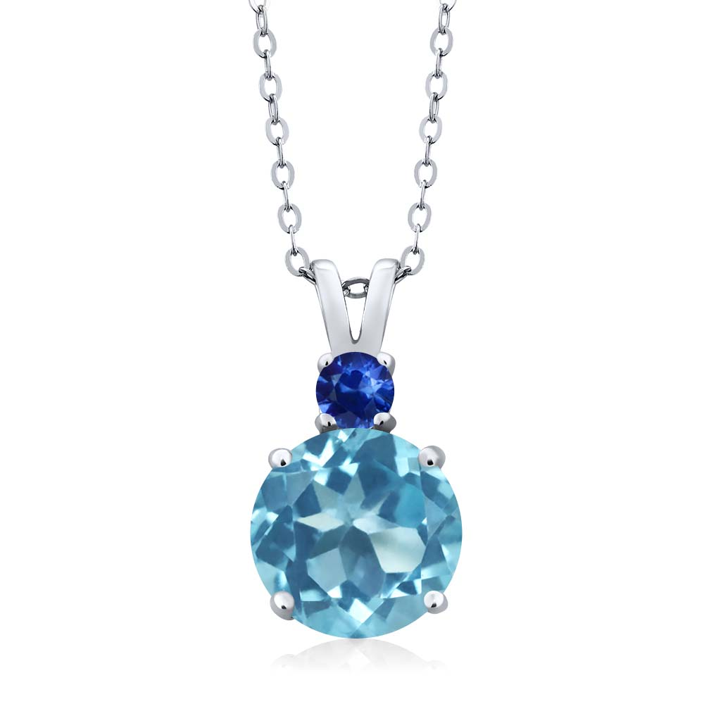 3.63 Ct Round Swiss Blue Topaz Blue Sapphire 18K White Gold Pendant