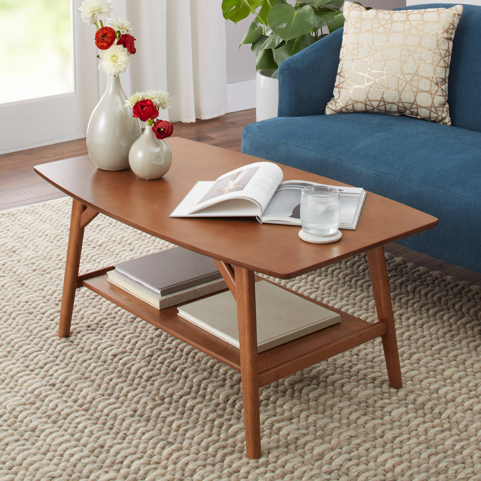 Better Homes & Gardens Reed Mid Century Modern Coffee Table, Pecan