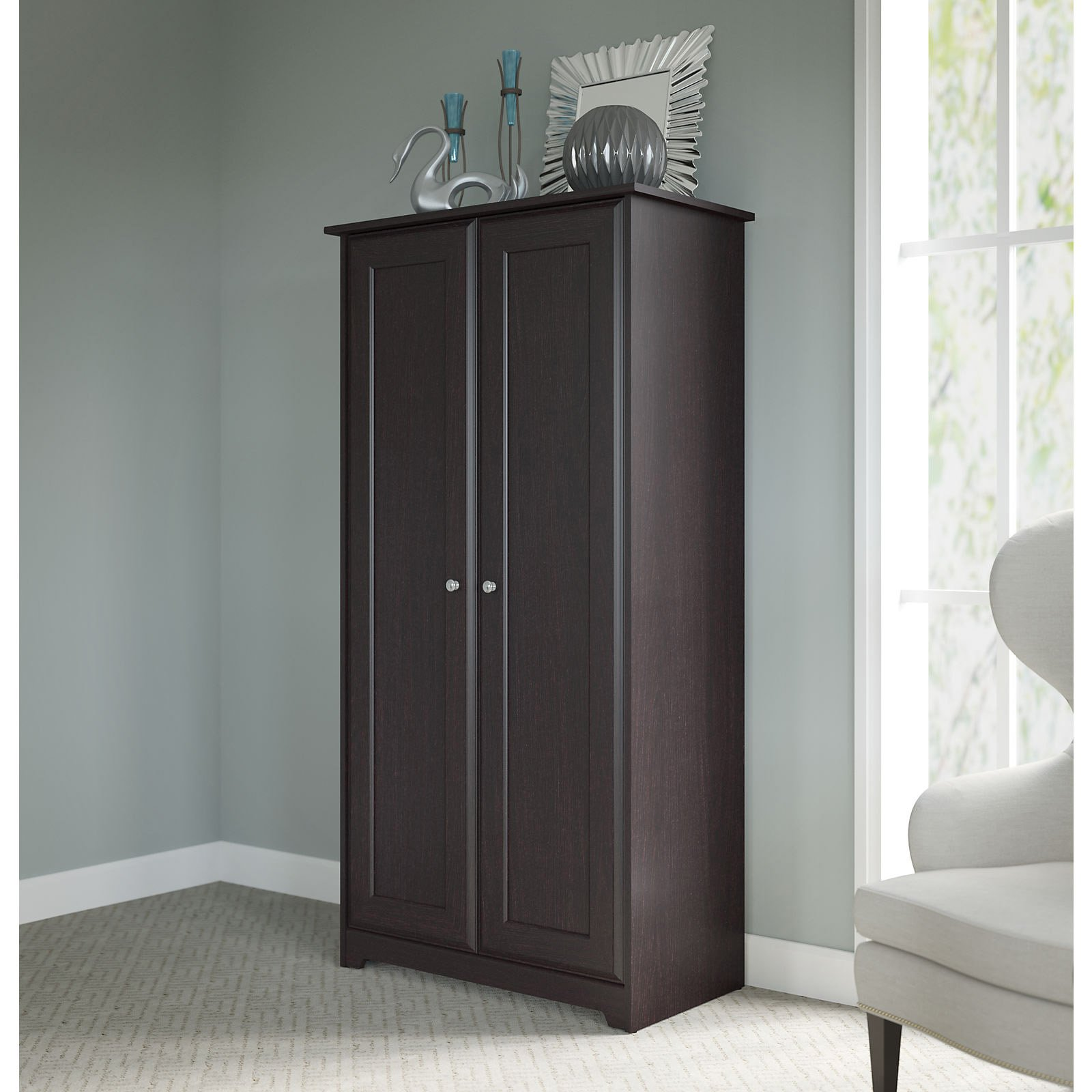 Beau Bush Furniture Cabot Tall Storage Cabinet With Doors In Espresso Oak