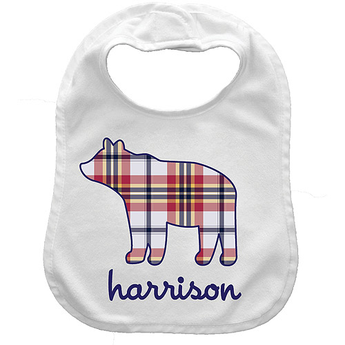 Personalized Plaid Bear Bib