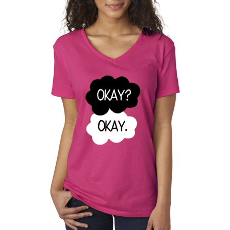 new way 011 women s v neck t shirt okay okay funny meme vine