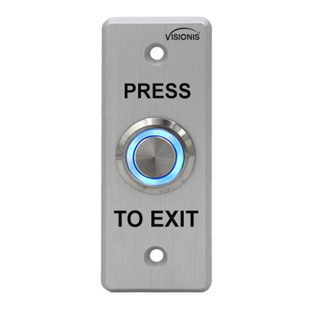 Brushed Steel Bell (Visionis VIS-7008 Indoor + Outdoor Weather, Waterproof Rated IP65 Stainless Steel Door Bell Type Round Request To Exit Button Slim Size For Door Access Control With LED Light + NC COM And NO Outputs )