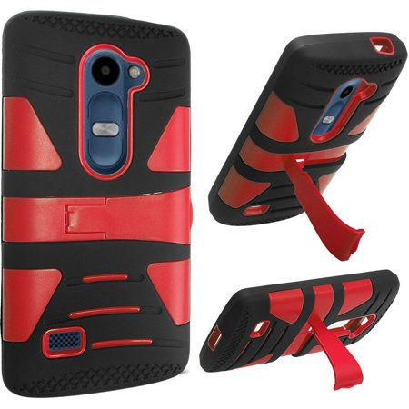 For Lg Tribute 2 Risio Leon C40 Power L22c Destiny L21g Sunset L33l Hybrid U Kickstand Case   Red Pc  Black Silicone