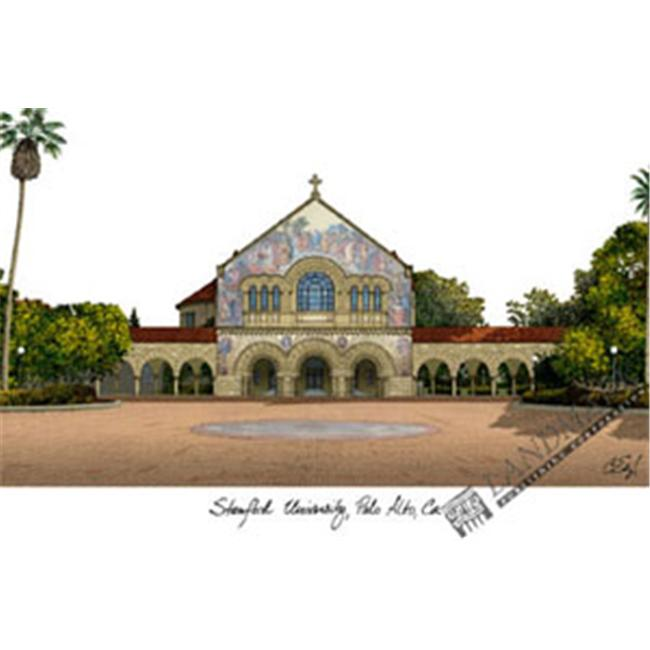 Stanford University Campus Images Lithograph Print